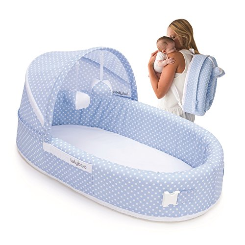 Lulyboo to Go Lounge Infant Travel Bed - On The Go Baby Lounger Backpack - Combines Crib, Playpen and Changing Station Blue Dots