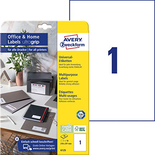 AVERY Zweckform 6125 Universal Etiketten (10 Klebeetiketten, 210x297 mm auf A4, bedruckbare Adressaufkleber, selbstklebende Versandetiketten mit ultragrip, ideal fürs HomeOffice) 10 Blatt, weiß