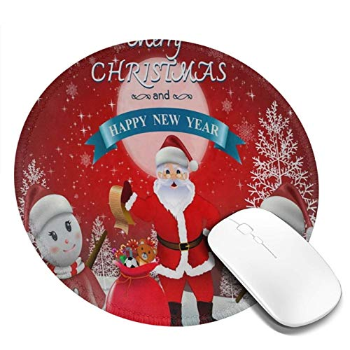Mini Mouse Pad Round Merry Christmas Santa Clause Snowman Snowflake Computer Mouse Pads Laptop Mousepad Circle Small Cute Personalized Gaming Mouse Mat for Women Kids Girls Boys Men Non Slip 7.9 X 7.9