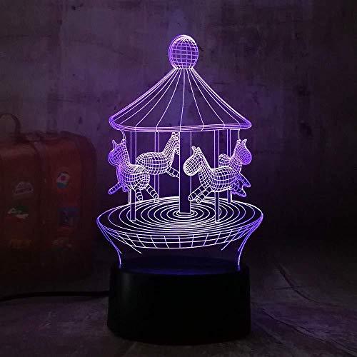 7 Farben Feuerzeug-Go-Round 3D Led 7 Farbwechsel Tischlampe Nachtlicht Bedroon Dechome Dekor Geschenke Für Kinder Kinder Geburtstag Weihnachtsgeschenk