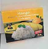 Thai Instant Sticky rice in CoConut Cream and Freezed Dry Mango Set Ready to Eat (2 boxes /6 oz)