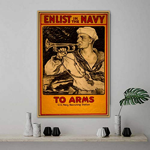 PLjVU Participate in navy retro nostalgic poster wall photo picture wall art home wall decoration canvas print-Frameless30x45cm