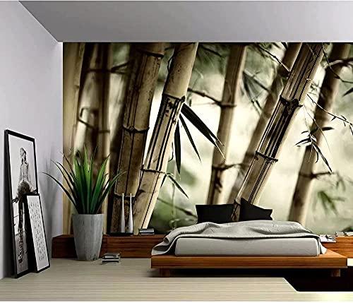 XHXI Foto Papel tapiz 3D Bosque de bambú Paisaje Póster Papel tapiz 3D Vinilo extraíble para el hogar 3D papel Pintado de pared tapiz Decoración dormitorio Fotomural-250cm×170cm