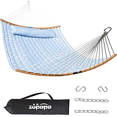 Zupapa Quilted 2 Person Hammock Curved Bamboo Spreader Bars, Heavy-Duty Double Hammock Swing, Folding Portable Large Hammocks for Camping Patio Yard, Carrying Bag Included