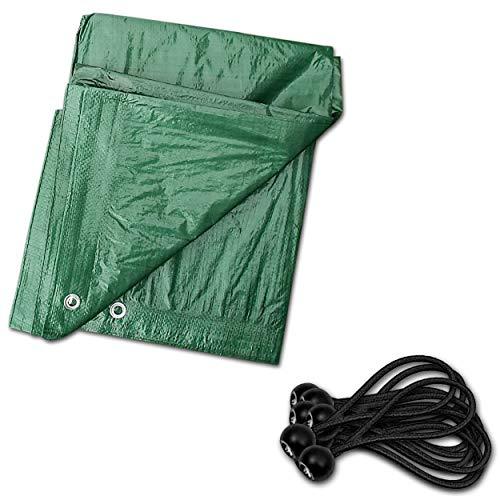 Heavy-Duty Tarpaulin Cover – 2 x 3 m Tarpaulin Sheet with 10 Bungee Cords – Tarpaulin Sheet for Car, Garden, Home Use – Protective Tarpaulin Canvas for UV Rays, Dust, Rain, Snow. Set by MYPURECORE