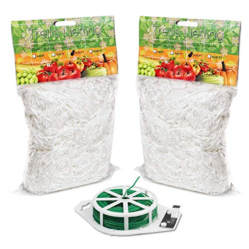 HYDGOOHO Plant Trellis Netting 5x30ft 2Pack Trellis Net HeavyDuty Polyester Plant Support Vine Climbing Hydroponics with/Garden Twine