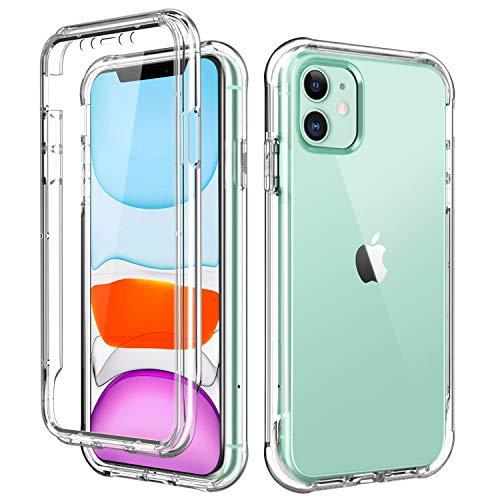 SKYLMW iPhone 11 Case 2019 6.1 inch,[Built in Screen Protector] Full Body Shockproof Dual Layer High Impact Protective Hard Plastic & Soft TPU with Phone Bumper Tough Cover Cases for Women Men,Clear