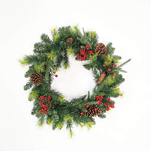 Leaflai Christmas Wreaths for Front Door - Prelit Xmas Wreath with Lights Battery Operated, Lighted Wreaths for Outdoors Cars, Pre-Strung 50 LED Lights Artificial Christmas Wreath(18in)