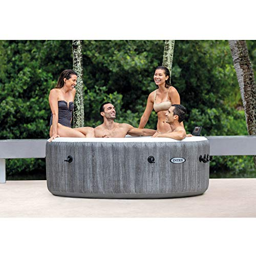 Intex 28439E Greywood Deluxe 4 Person Inflatable Spa Hot Tub with Multi-Color LED Light and Bubble Jets, Grey