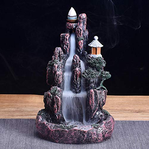 Mangetal Mountains Incense Burner Waterfall Backflow Incense Burner Holder Incense Stick Holder Home Office Decor with 10 Cones LED Glowing (Style 3)