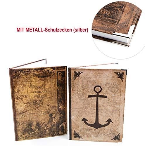 Logbuch-Verlag Vintage Boekenset 2 lege notitieboekjes blanco + gelinieerd DIN A4 om zelf vorm te geven - vintage stijl anker wereld kaart bruin