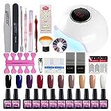 Kit de esmalte de uñas de gel con temporizador de luz UV, lámpara de uñas de larga duración, herramientas de manicura para uso en el hogar, kit de esmalte de uñas de gel