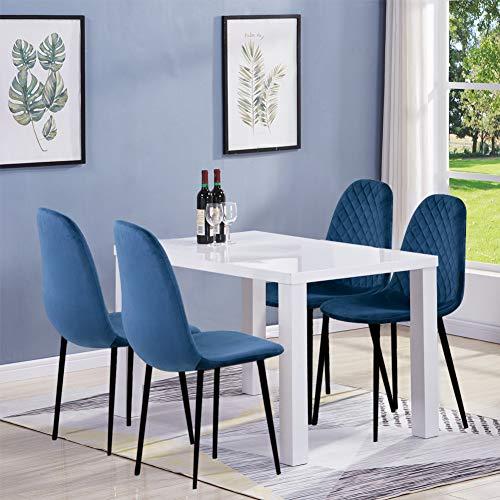GOLDFAN Esstisch mit 4 Stühlen Stoff Moderner 110cm Rechteckig Weiß Wohnzimmertisch Schreibtisch für 2-4 Personen Wohnzimmer Küche Esszimmer, Blau