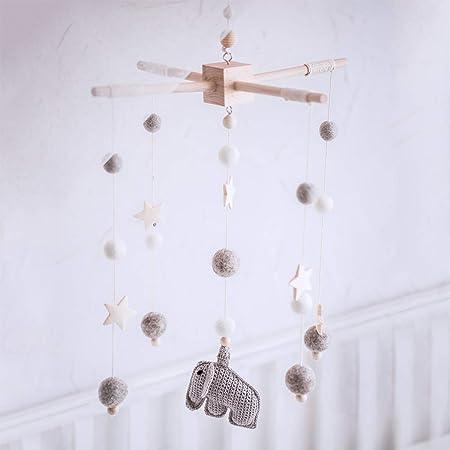 Okawari Home モービル 木製 ベッドメリー かわいい象 グレー かぎ針編み 羊毛フェルト ゆらゆらおもちゃ 知育玩具 木のおもちゃ 赤ちゃん 子供部屋 つるし飾り ベビー 誕生日プレゼント 出産祝い