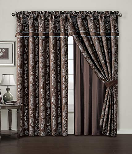 Chezmoi Collection Tuscany 4-Piece Blue Brown Paisley Floral Jacquard Window Curtain/Drape Set - Attached Sheer Backing and Valance