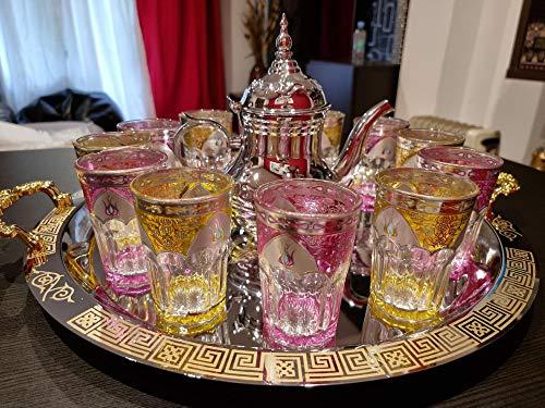 Juego de té marroquí Completo, Tetera con Filtro Integrado 1.6L + Bandeja grande 54cm redonda con asas - 12 Vasos de cristal
