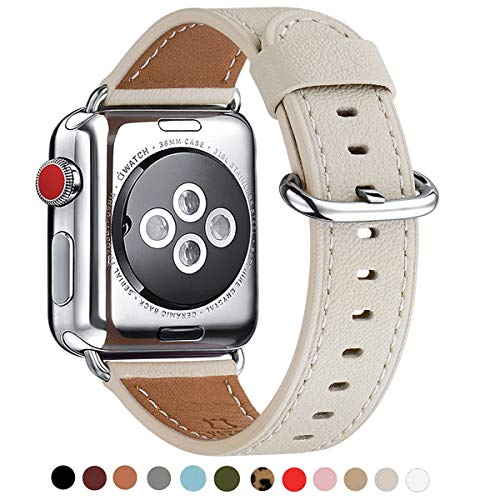 WFEAGL Compatible iWatch Band 38mm 40mm 42mm 44mm, Top Grain Leather Bands of Many Colors for iWatch Series 5,Series 4,Series 3,Series 2,Series 1 (Ivory White/Silver, 42mm 44mm)