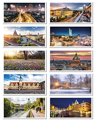 Leipzig Postkarten Set 2 (DIN lang, 21 x 10,5 cm, PK Fotografie, Postkarte, Souvenir)