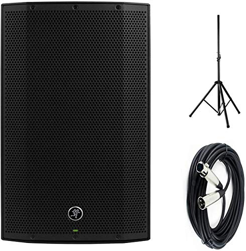 "Mackie Thump15A - 1300W 15"" Powered Loudspeaker (Single) with Steel Speaker Stand and XLR- XLR Cable"