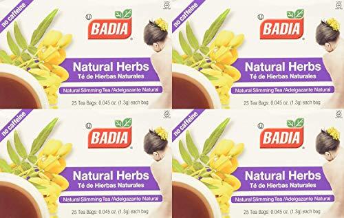 Badia - Natural Herbs Natural Slimming Tea Caffeine-Free - 25 Tea Bags Pack of 4