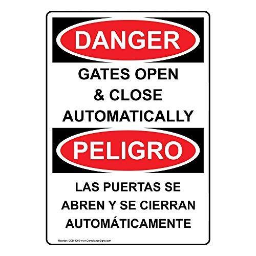wendana Danger Gates Automatisch openen & sluiten - Las Puertas Se Abren Y Se Cierran Automáticamente Sign,Funny Tin Metal waarschuwingsborden voor onroerend goed, aluminium, Gate Sign,Hek teken buiten,8