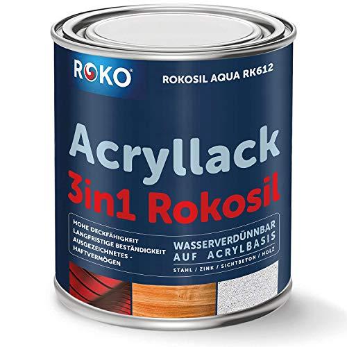 Acryl-Buntlack ROKOSIL - 0,7 Kg in Schwarz - Seidenmatt - Wetterfest für Außen & Innen - 3in1 Grundierung & Deckfarbe - Premium Acryllack - Lack für fast alle Oberflächen - Langlebig & Robust