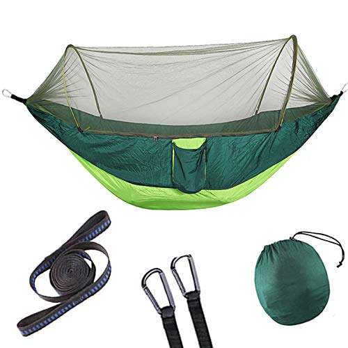 WHESWELL Camping Hammock with Mosquito Net,Single & Double Hammock Tent,Lightweight Parachute Fabric Hammock for Travel Hiking Backpacking Backyard Patio Beach (Green)