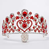 En Forma de corazón Tiara Celada Corona Nupcial Rhinestones de la aleación, circón Corona de la Novia Accesorios Cinta de Cabeza para la Mujer,Rojo