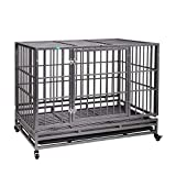 """JAXPETY 42"""" Flat Roof Heavy Duty Dog Cage Strong Metal Kennel and Crate for Dogs Pet Playpen with Four Wheels and Double Door Indoor Outdoor"""