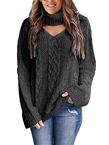 Womens Plus Size Sexy V Neck Sweaters Turtleneck Choker Tops Oversized Cable Knit Chunky Pullover Black