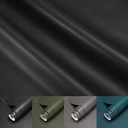 LC&TEAM Möbelfolie selbstklebend Lederfolie schwarz Klebefolie Möbel Wandtapete Wohnzimmer aus PVC 45X200CM Wasserfest Ohne Geruch Lederoptik Dekorfolie für Möbel/Kinderzimmer/Wand
