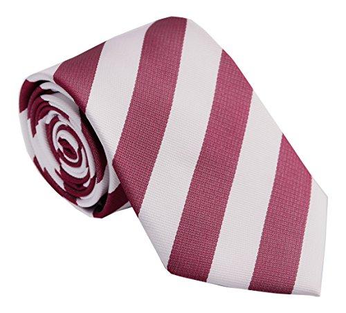 Streeze Corbatas de Rayas Sencillas para Hombres - Rojo/Blanco
