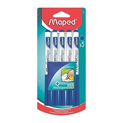 Maped - 5 Feutres effaçables à Sec Marker'Peps + 1 Chiffonnette - Feutres pour Ardoise et Tableau Blanc - Marqueurs non Permanents bleus - Pointe Medium 1, 5 mm