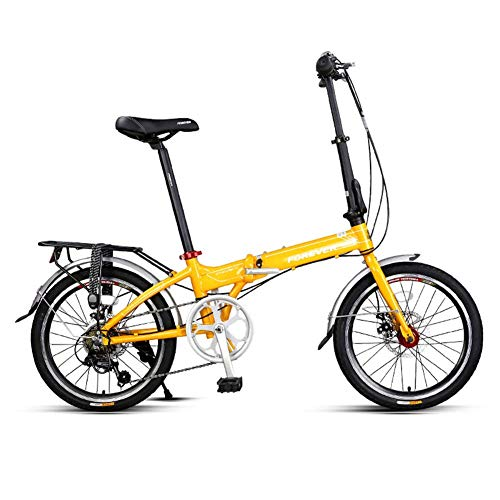 CWZY Adults Folding Bike, 20 Inch 7 Speed Foldable Bicycle, Super Compact Urban Commuter Bicycle, Foldable Bicycle with Anti-Skid and Wear-Resistant Tire,Yellow