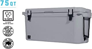 BISON COOLERS 75 Quart Large Double Insulated Rotomolded Ice Chest Box with Hard Shell, Lid and Liner | Includes 5 Year Warranty | Made in The USA