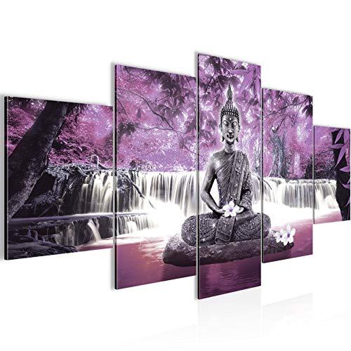 Tabla decoración de la pared de la cascada de Buda - 200 x 100 cm Vista de impresión en lienzo Salón Apartamento - listo para colgar - 503551c