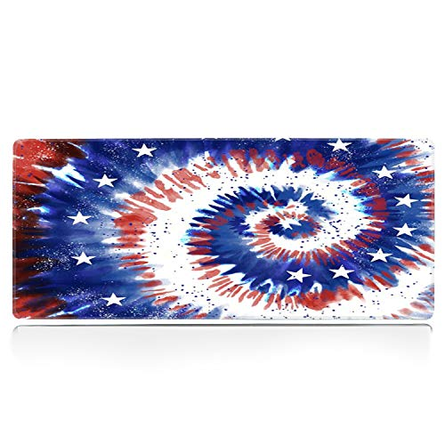 ZYCCW Large Gaming XXL Mouse Pad with Stitched Edge 31.5'x11.8'x0.15' Tie dye American Flag Mouse Mat Customized Extended Gaming Mouse Pad Anti-Slip Rubber Base Ergonomic Mouse Pad for Computer
