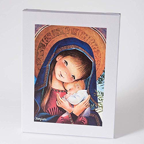 Cuadro Virgen pórtico 30x40cm. Ilustración de Juan Ferrándiz impresa en lienzo. Serie limitada y numerada. Regalo Comunión y Bautizo