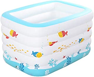 White Inflatable Paddling Pool, 140 * 105 * 75cm Rugged PVC Pool Portable Outdoor Indoor Pool Floating Drifter Swimming Po...