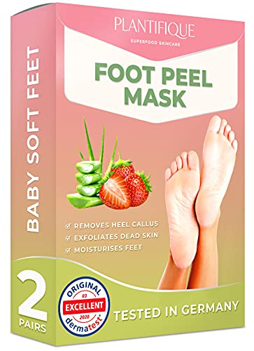 Mascarilla Exfoliante Pies de Fresa probada dermatológicamente - calcetines exfoliantes de pies para callos y peeling pies de Plantifique - Eficaz para callos, piel muerta y seca - 2 pares