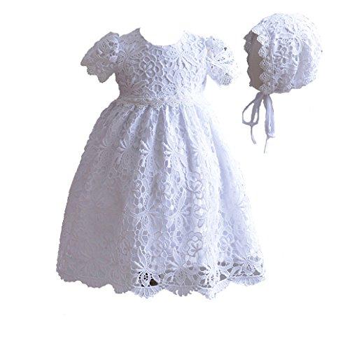 Cinda Baby Spitze Taufkleid mit Mütze Weiß 62-68
