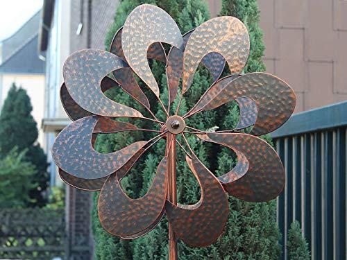 HAFIX Windrad Metall Blumenmuster Windspiel Metallwindrad Gartendeko rund Wind Mühle mit Erdspieß - 5