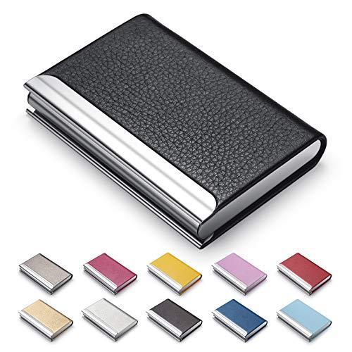 MAZYPO Business Card Holder, Name Multi Cards Case, Black Luxury PU Leather Credit Card ID Case - Protector Business Name Card Holder Slim Metal Wallet Pocket Holder Case for Women & Men