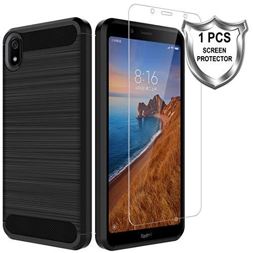 MP-MALL Hülle für Xiaomi Redmi 7a,[Anti Fingerabdruck] Flexibel Weich TPU Slim Gebürsteter Hülle Cover mit Panzerglas Folie[1 Stück] für Xiaomi Redmi 7a - Schwarz