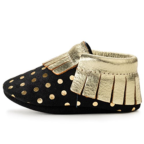 BirdRock Baby Moccasins - 30+ Styles for Boys & Girls! Every Pair Feeds a Child (US 8, Black...