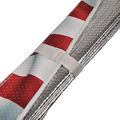 USA Patriotic American Eagle Flag Front Windshield    Sun Shade - Accordion Folding Auto Sunshade for Car Truck SUV - Blocks UV Rays Sun Visor Protector - Keeps Your Vehicle Cool - 58 x 28 Inch