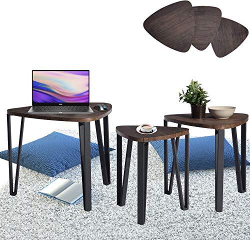 Aingoo 3 Couchtische Beistelltisch beistelltisch 3er set Nachttisch 3er Set Satztisch Sitzgruppe Niedrige Tisch Nesting Table Mitteldichter Holzfaserplatte MDF Tischbein Aus Metall Tisch In Braun