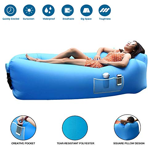 MOOSENG Inflatable Lounger Air Sofa Hangout Couch Lounger Bag Air Chair Waterproof Nylon (Carrying Bag Included) Blue, 943529