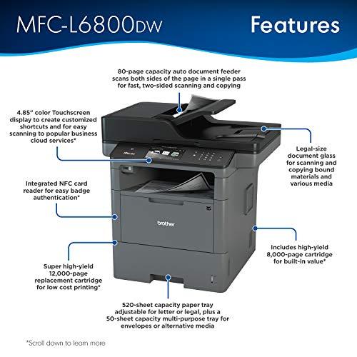 Brother MFC-L6800DW Laser A4 WiFi Color Blanco Multifuncional - Impresora multifunción (Laser, 1200 x 600 dpi, 1200 x 1200 dpi, A4, A4 (210 x 297), 19200 x 19200 dpi)