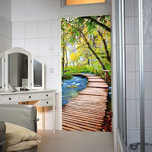 Murimage deurbehang bos brug 86 x 200 cm inclusief behanglijm rivier houten brug 3D bomen badkamer fotobehang
